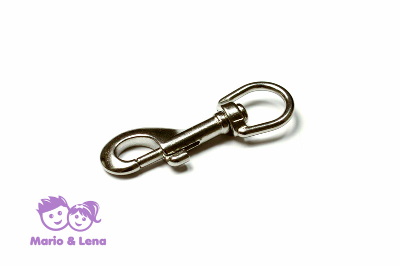 Carabiner with rolling swivel 20mm Silver