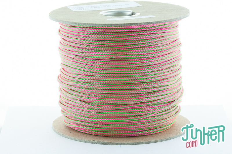 CUSTOM CUT Type II TINKER Cord in color  NEON PINK & NEON GREEN STRIPE
