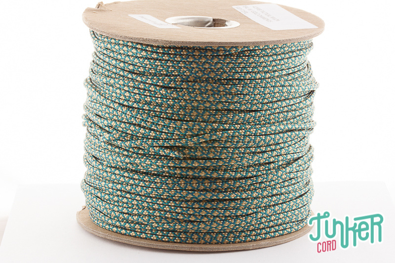 150m Rolle Type II TINKER Cord, Farbe TEAL & GOLD DIAMONDS